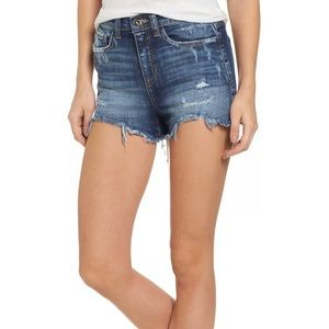 SP Black High Rise Fray Ripped Cutoff Shorts